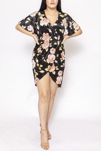 Floral print, velvet, short dress-id.cc39734a