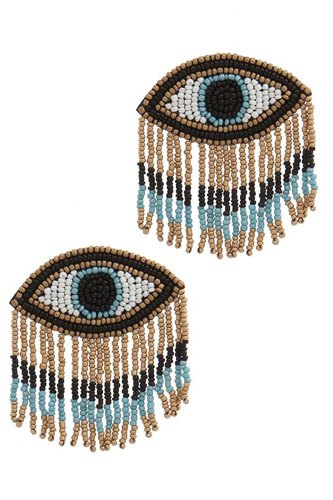 Stylish evil eye drop fringe earring-id.cc39742