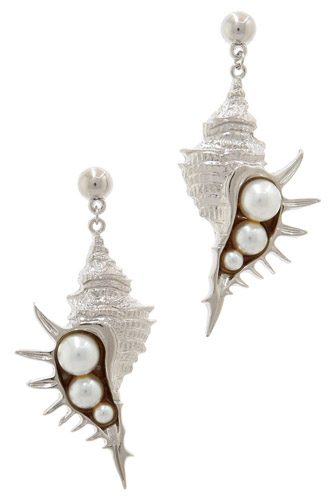 Stylish trendy sea shell and pear earring-id.cc39743