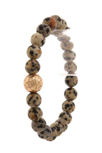 Hammered metal ball beaded stretch bracelet-id.cc39749