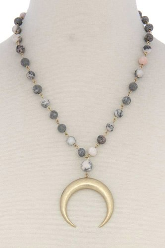 Crescent moon beaded short necklace-id.cc39751