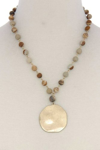 Metal circle beaded short necklace-id.cc39752