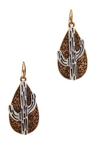 Chic tear drop cactus dangle earring-id.cc39754