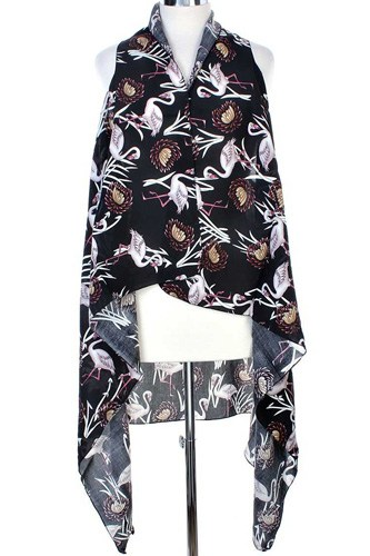 Draped flamingo printed vest-id.cc39761