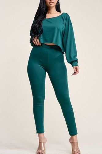 Solid french terry long sleeve slouchy top and leggings two piece set-id.cc39769