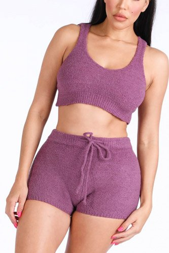 Textured knitted tank top short set-id.cc39777