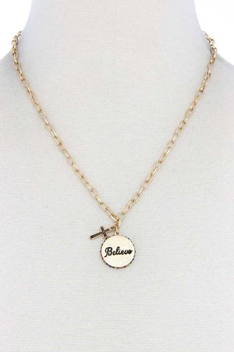 Believe engrave metal circle pendant necklace-id.cc39781