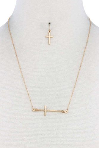 Metal cross charm necklace-id.cc39782