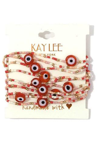 Evil eye beaded stretch bracelet set-id.cc39795