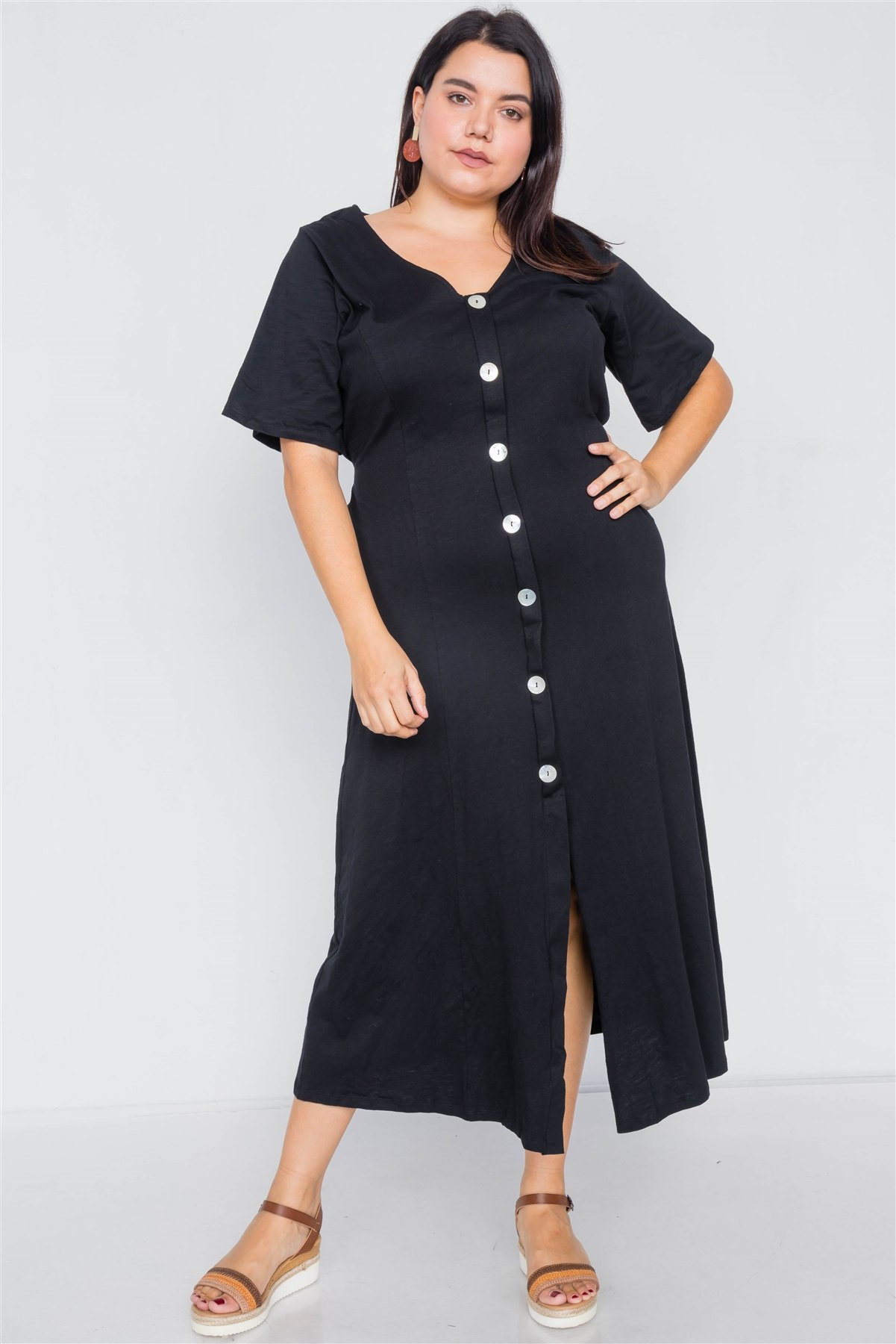 Plus size black cotton v-neck wrap opal button down maxi dress-id.cc39811