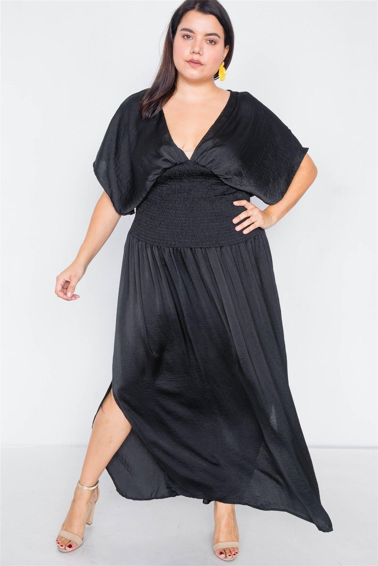 Plus size v-neck satin kimono sleeve maxi dress-id.cc39812a
