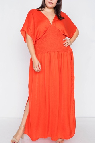 Plus size v-neck satin kimono sleeve maxi dress-id.cc39812