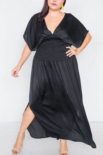 Plus size v-neck satin kimono sleeve maxi dress-id.cc39812a