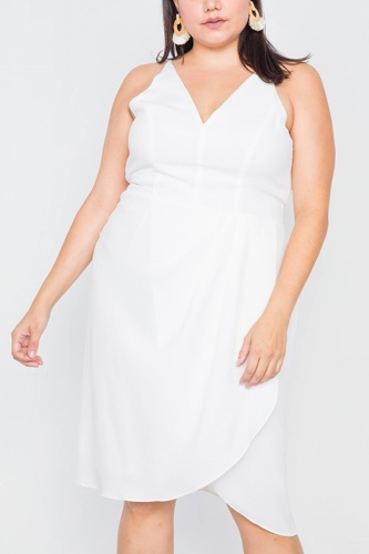 Plus size white mock wrap v-neck mini dress-id.cc39813