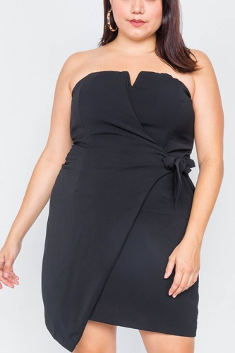 Plus size sleeveless mock wrap mini chic dress-id.cc39814