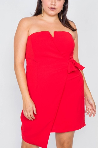 Plus size sleeveless mock wrap mini chic dress-id.cc39814a
