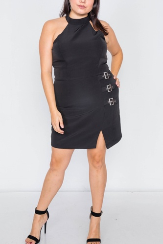Plus size halter buckle hip mini dress-id.cc39815a