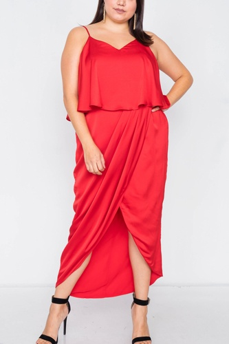 Plus size satin flounce bandage midi dress-id.cc39816a