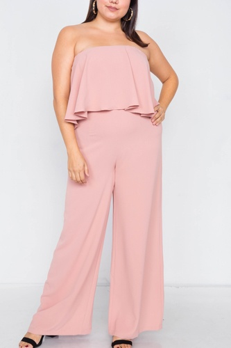 Plus size off-the-shoulder flounce wide leg jumpsuit-id.cc39817