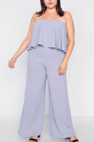Plus size off-the-shoulder flounce wide leg jumpsuit-id.cc39817a