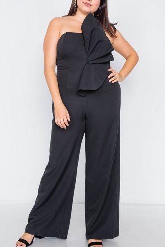 Plus size tailored frill wide leg sleeveless cocktail jumpsuit-id.cc39818