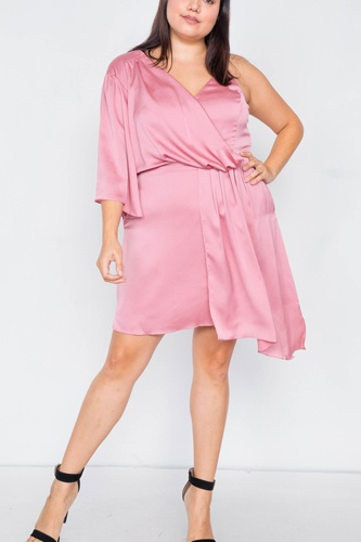 Plus size  silk one shoulder mini dress-id.cc39819