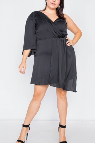 Plus size  silk one shoulder mini dress-id.cc39819a