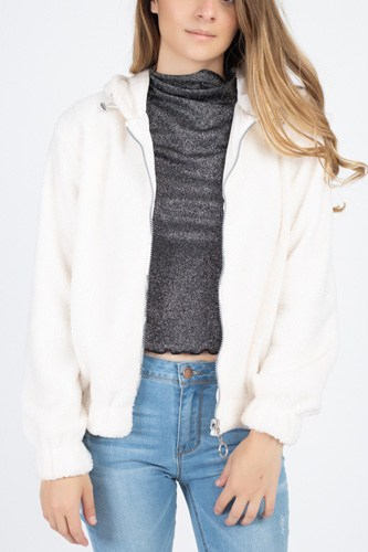 Faux fur drawstring hooded jacket-id.cc39825c