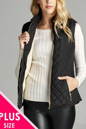 Faux shearling lined quilted padding vest-id.cc39826