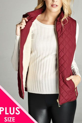 Faux shearling lined quilted padding vest-id.cc39826a