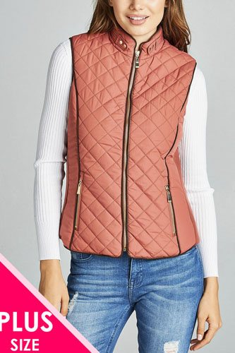 Faux shearling lined quilted padding vest-id.cc39827