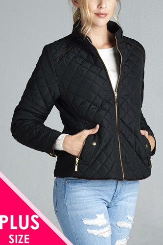 Quilted padding jacket with suede piping details-id.cc39828
