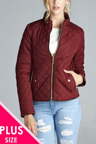 Quilted padding jacket with suede piping details-id.cc39828a