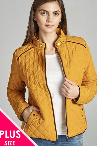 Quilted padding jacket with suede piping details-id.cc39828b