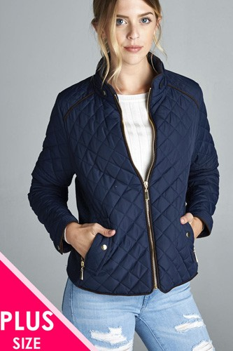 Quilted padding jacket with suede piping details-id.cc39828c