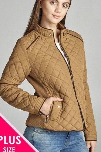 Quilted padding jacket with suede piping details-id.cc39828e