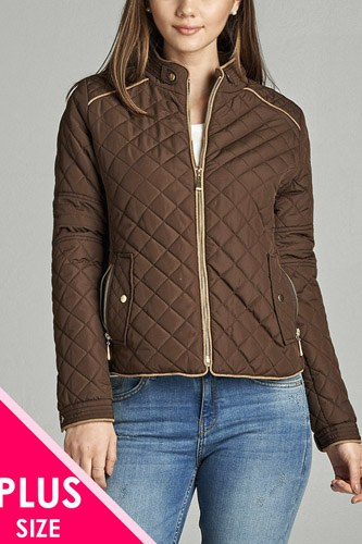 Quilted padding jacket with suede piping details-id.cc39828f