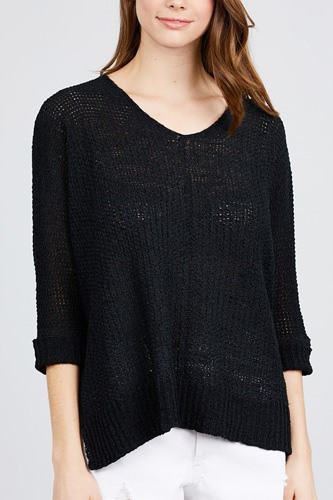 3/4 sleeve side slits fish net sweater top-id.cc39829