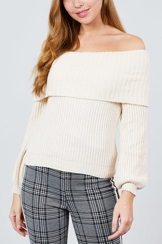 Long sleeve fold over off the shoulder chenille sweater-id.cc39830