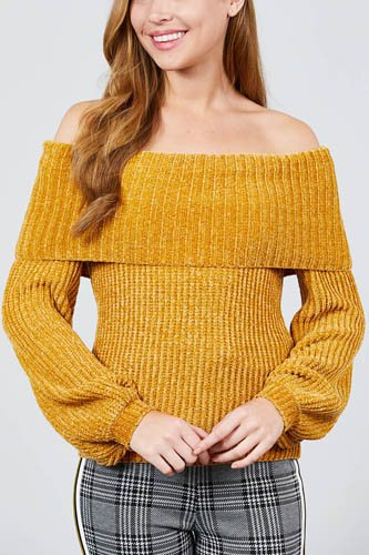 Long sleeve fold over off the shoulder chenille sweater-id.cc39830a