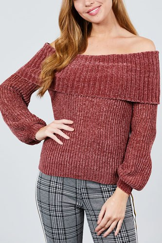 Long sleeve fold over off the shoulder chenille sweater-id.cc39830b