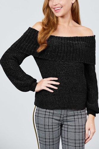 Long sleeve fold over off the shoulder chenille sweater-id.cc39830c