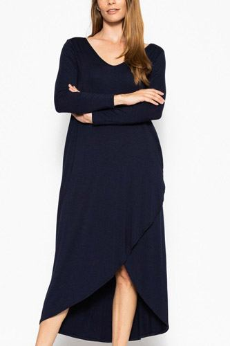 Plus solid, maxi dress with pockets-id.cc39831c