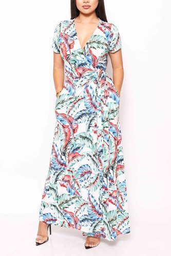 Print short sleeve, maxi wrap dress-id.cc39832