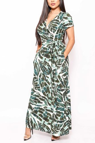 Print short sleeve, maxi wrap dress-id.cc39832a