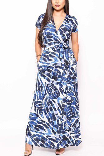 Print short sleeve, maxi wrap dress-id.cc39832c