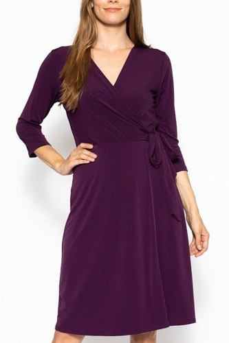 Cute midi 3/4 sleeve dress with a overlapping v-neck line and a belted waist-id.cc39834