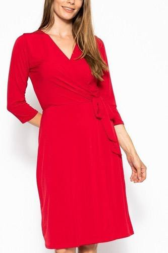 Cute midi 3/4 sleeve dress with a overlapping v-neck line and a belted waist-id.cc39834c