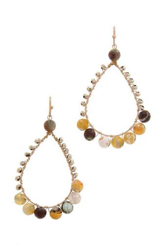 Teardrop shape beaded drop earring-id.cc39842