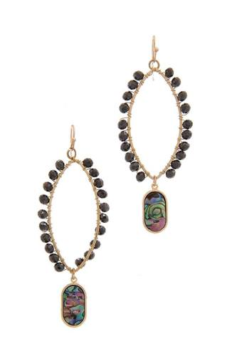 Pointed oval beaded dangle drop earring-id.cc39843